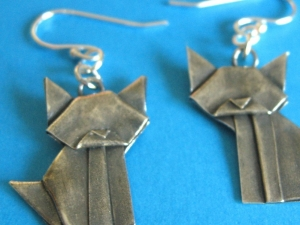 silver origami cat earrings